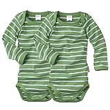 wellyou, 2er Set Kinder Baby-Body Langarm-Body, grün weiß gestreift, Geringelt, Feinripp 100% Baumwolle, Größe 68-74