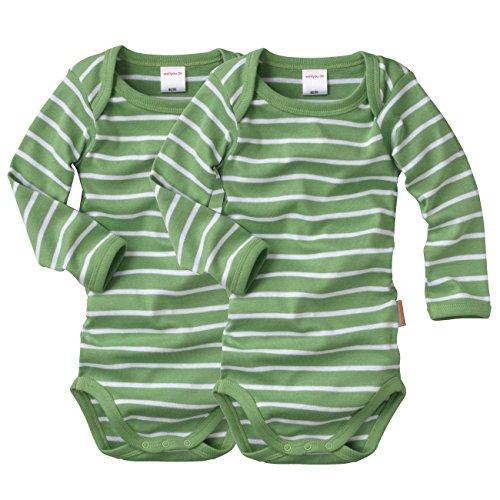wellyou, 2er Set Kinder Baby-Body Langarm-Body, grün weiß gestreift, geringelt, Feinripp 100% Baumwolle, Größe 50