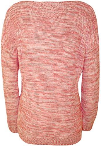 WearAll - Pull tricoté à manches longues avec l'image du lapin qui porte les lunettes - Pulls - Femmes - Tailles 36 à 42 Rose Foncé