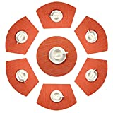 Shacos 6 manteles Individuales en Forma de cuña y 1 Mantel Redondo,Antideslizante de Aislamiento de Calor Resistentes al Calor y al Desgaste,fácil de Limpiar Mantelitos PVC(Naranja)