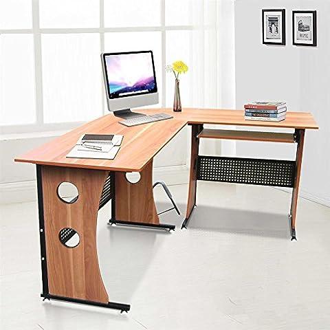 tinkertonk Light Brown Corner Desk L Shaped Computer Workstation with Sliding Keyboard Tray Home Office Study Room