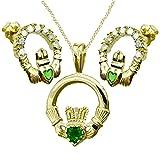 Claddagh en or jaune 9carats Pierre Vert Coffret cadeau, pendentif, boucles d'oreilles et Chaîne–Cadeau Traditionnel Irlandais
