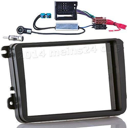 meins24 17215202 Auto Radio Blende Doppel 2 DIN Einbau Rahmen Set 2 fach Fakra Antennen Adapter
