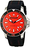 Wenger Seaforce Men's Quartz Watch with Red Dial Analogue Display and Black Silicone Strap 010641111