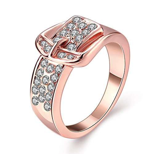 Thumby Personifizierte Tschechische Diamantring für Frau,Rose plaqué or,6