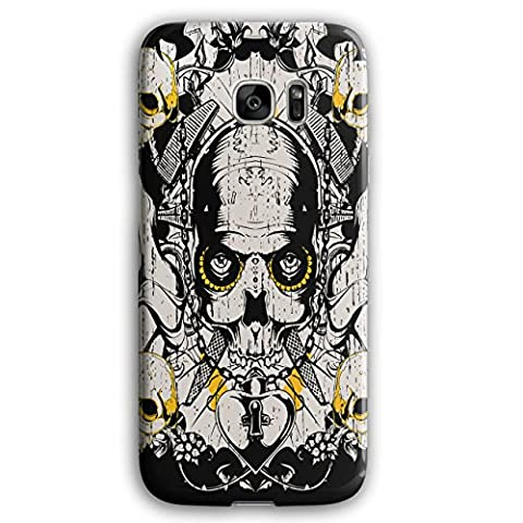 Crâne Amour Bloquer Gang Médaillon NEUF Noir 3D Samsung Galaxy S7 Edge Étui pour | Wellcoda