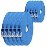0,25m - Blau - 10 Stück - Cat.6 Flaches Netzwerkkabel Cat6 Flachkabel Ultra Flach Cat.6 Patchkabel 1000 Mbit/s Gigabit LAN (RJ45) Flach Slim Micro