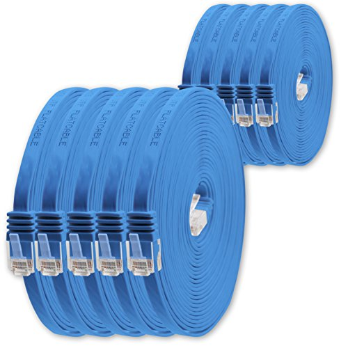 2m - Blau - 10 Stück - Cat.6 Flaches Netzwerkkabel Cat6 Flachkabel Ultra Flach Cat.6 Patchkabel 1000 Mbit/s Gigabit LAN (RJ45) Flach Slim Micro