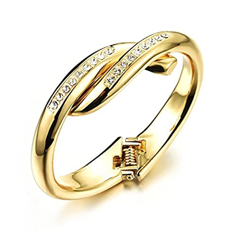 Fate Love Jewellery Round Cut Crystal 18k Yellow Gold Plated Open Bangle Bracelet for Women 6.69
