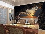 WH-PORP Sun-Ozean-Ansicht-natürliche Landschaft Mura Lanscape 3D große kundenspezifische Wandbild-Tapete für Fernsehsofa-Hintergrund-3D Wand-Fototapeten-128cmX100cm