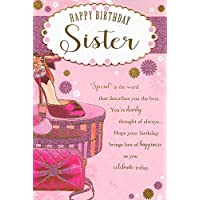 Happy Birthday Sister Card***Pink Shoes and Glitter**9 X 6 INCHES**1ST Class Post**AB9**