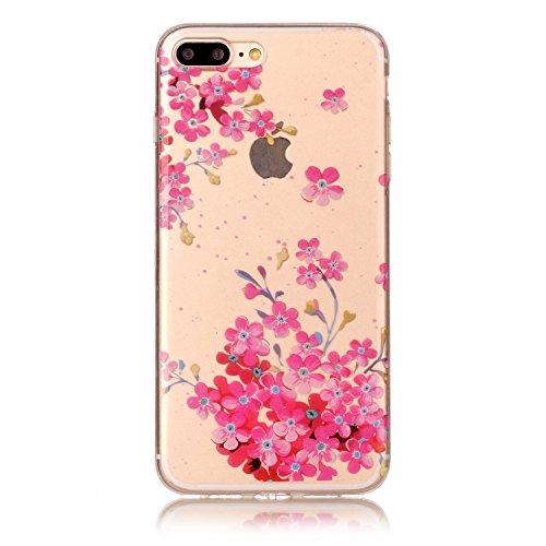 Linvei iPhone 7 Plus hülle Tasche case cover,Ultra Dünn Weiche TPU Silikon Cover und bunte Muster Schutzhüllen für iphone 7 Plus-Comic-Buch große Ananas rote Blumen