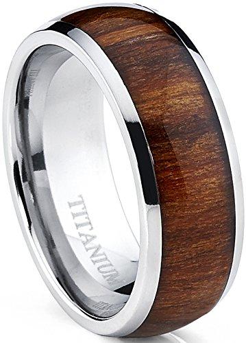 Ultimate Metals Co. Herren Titan Ehering,Verlobungsring Mit Echtholzeinlage 8mm Bequemlichkeit Passen,Größe 60.5