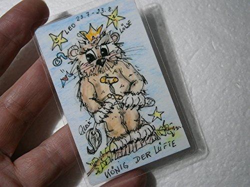 Sternzeichen Löwe Eule fun handgemalt Original Miniatur laminiert Taschenkunst Lesezeichen als Geschenk, Geburtstagsgeschenk, (König Geburt Kostüme)