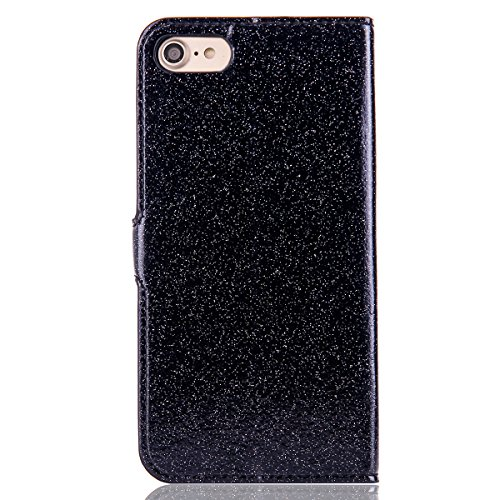 iPhone 8Plus Handytasche, Schön Diamant CLTPY iPhone 7Plus Ledertasche Folio Brieftasche im Bookstyle, Metall Magnetic Closure Etui für Apple iPhone 7Plus/8Plus + 1 x Stift - Schwarz 3 Schwarz 1