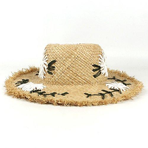 ZX Frauen Stroh Sonnenhut, handgemachte Raffiabast mit breiter Krempe Travel Beach Cap für Mädchen Lady (Farbe : Natural, Size : 56-58CM)