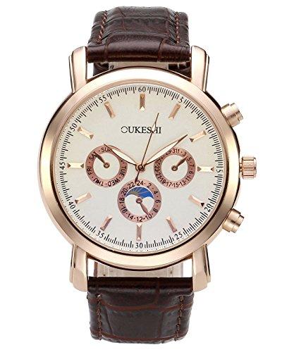 JSDDE Uhren,Herren Armbanduhr Analog Quarzuhr Wasserdicht Unecht Chronograph Lederband Lederuhr Bussiness uhr,Weiß+Braun