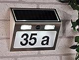 Haushalt International Solar Hausnummer mit Standby Beleuchtung und Bewegungsmelder