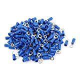 sourcingmap® 200 Pcs 1.25-4S Wire Connector Ring Crimp Terminal Blue 22-16AWG