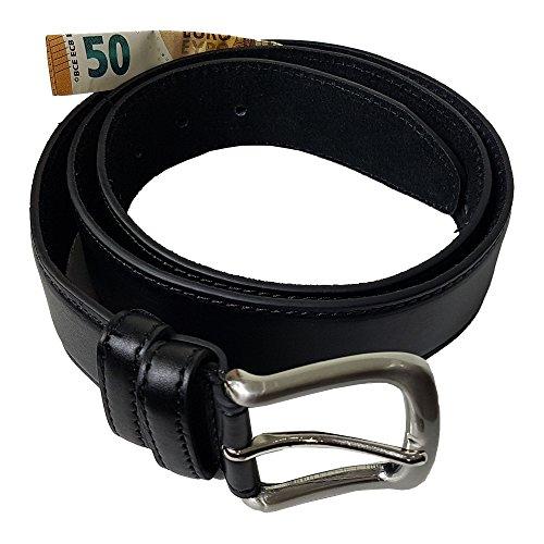 Echt Leder Gürtel mit Geheimfach Schwarz Topqualität - Tresorgürtel Geldgürtel von Einkaufszauber (90) (Reißverschluss Gürtel)