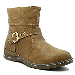 Shuberry Latest Footwear Collection, 5 inches Length Comfortable & Fashionable High Top Boots with Exclusive Front Belt Design For Womens & Girls - (Beige)