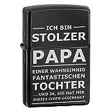 Creativgravur Zippo avec gravure (inscription en allemand 'Stolzer Papa') dans un coffret cadeau - quatre modèles différents ébène