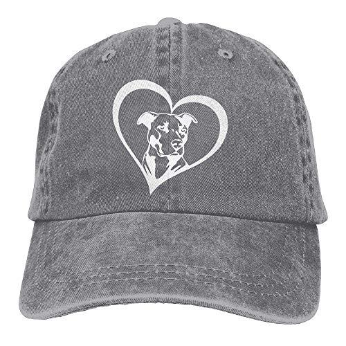 Wdskbg Männer & Frauen einstellbar Denim Stoff Baseballmützen Pit Bull Heart Snapback Cap Multicolor67 - Bull Denim Stoff