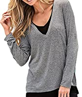 Fulok Womens Fashion Fake Two Casual Splice Long Sleeve Shirts L Gray