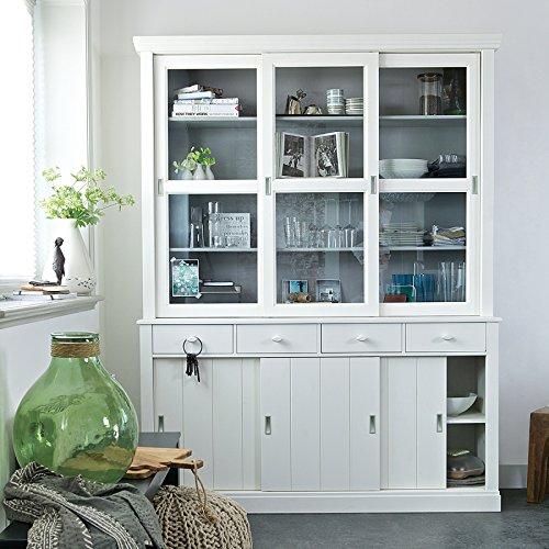 Vitrinenschrank, Geschirrschrank, Vitrine im Landhausstil, Buffet-Schrank weiß, Breite 166 cm (Glas-schiebe-regale)