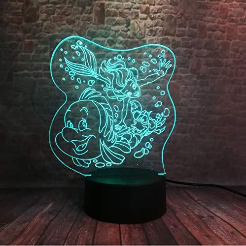 Nachtlicht Die Kleine Meerjungfrau Spielt Freund Ariel Und Flunder Unterwasserwelt Ir 7 Farbe Nachtlicht Dekor Weihnachten (Der Meerjungfrau Von Flunder Kleinen)
