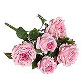 Ein Bündel Künstlichen Rose Seidenblume Pflanze Büro Haus DIY Dekor - Rosa