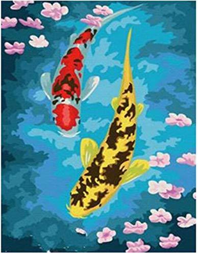 BSZHCT Malen Nach Zahlen - Gelber Koi - Kit Für Erwachsene, Kinder, Anfänger Und Senioren, DIY Ölgemälde Mit 16 X 20 Zoll Leinen Leinwand Kunst Malerei Wohnkultur - (Kein Rahmen) -