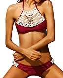Damen Bandeau Bikini Set Neckholder Badeanzug Push Up Beachwear Bademode Wein Rot M
