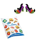 Bluebubble TRICK OR TREAT Wicked Witch Of The West Shoes Stud Earrings With FREE Gift Box
