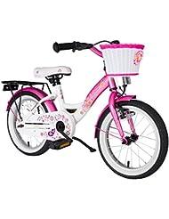 BIKESTAR® Original Premium Kinderfahrrad für sichere und sorgenfreie Spielfreude ab 4 Jahren ★ 16er Classic Edition ★ Flamingo Pink & Diamant Weiß