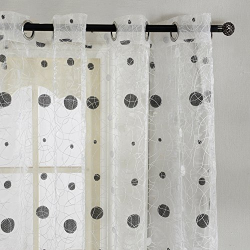 Top Finel tratamientos paneles transparentes cortinas de lunares de Nido de Pájaro ojales, solo panel, poliéster y mezcla de poliéster, White(Grommets), 195 x 215 cm