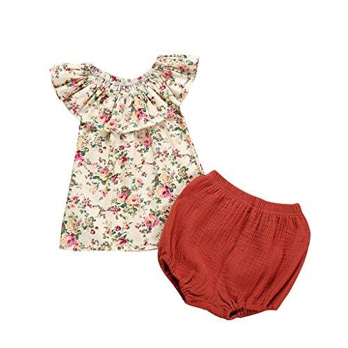 Kinderbe Kleidung Set Mädchen Kleid T-Shirt + Shorts Set Pwtchenty Sommer Bekleidungssets Kleidungs Outfits Dot Bootcut-hose