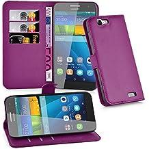 Cadorabo - Funda Huawei ASCEND G7 Book Style de Cuero Sintético en Diseño Libro - Etui Case Cover Carcasa Caja Protección (con función de suporte y tarjetero) en VIOLETA-DE-MANGANESO