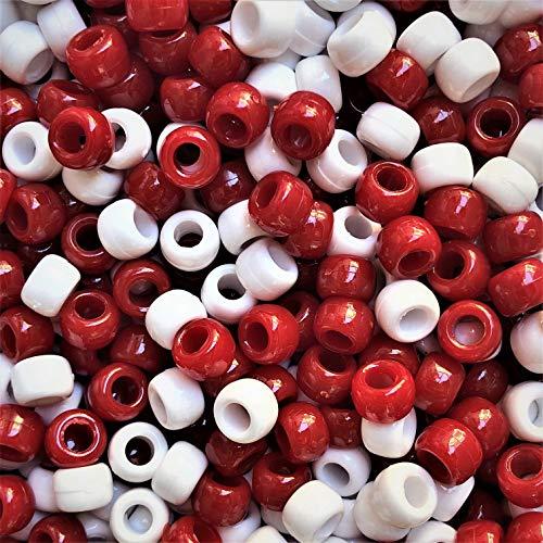Pony, 200 x 9 x 6 mm, Weiß / Rot-Armband geflochten Loom Gummiringe Dummy Clips, Farbe des Schaftes: Kunststoff, Acryl, rund, Schmuck-, Perlen und Charms -