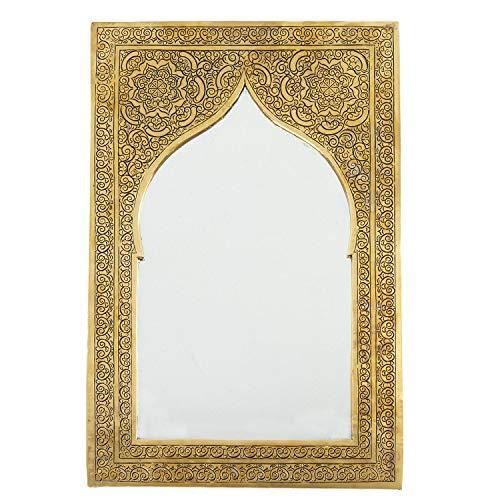 Casa Moro Marokkanischer Wandspiegel orientalischer Messing-Spiegel Khalil 25 x 17 cm rechteckig | Kunsthandwerk aus Marrakesch | Orientalischer Spiegel für schöne Dekoration & Geschenkidee | SP9010 -