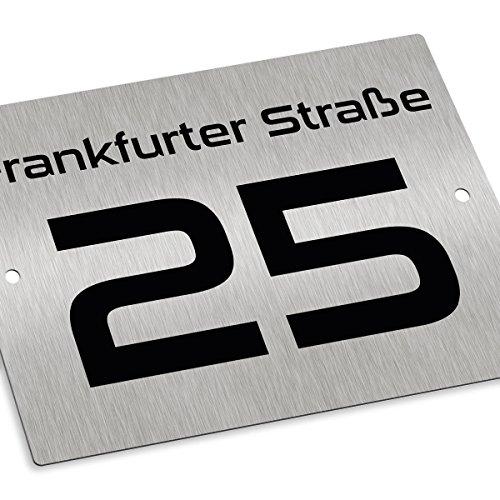 Hausnummernschild Hausnummer • Edelstahl fein gebürstet • mit Wunschnummer + Straßenname Folienplott • Design 11 (1mm) - 2