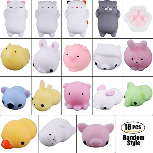 Soft Squishy Toys Squishy Cat Squishy Kawaii Mignon Slow Rising Animal Hand Toy Jouet Squeeze Soft (couleur aléatoire) (18 PCS)