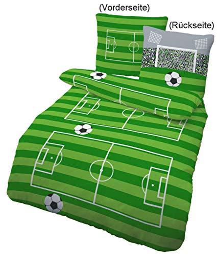 Renforce Kinder Bettwäsche FUßBALL, SPIELFELD & TOR in grün, grau 2 tlg. - Größe 80x80 + 135x200 cm - 100% Baumwolle