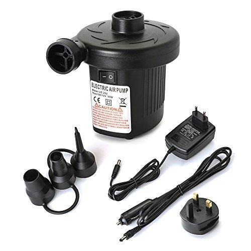 AxeBon Elektrische Luftpumpe, Mobile Kompressoren Luftpumpen für Home Camping Luftmatratzen, Planschbecken, Schlauchboote Aufblähungen und Deflates (Black)