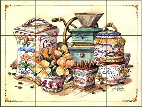 Antique Canisters by Jerianne Van Dijk | Tile Mural for