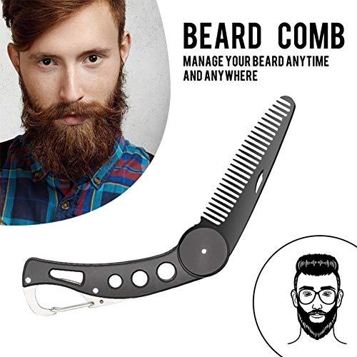 Symeas Peignes de barbe de peigne de moustache portatif pliable antistatique de barbe d'acier inoxydable