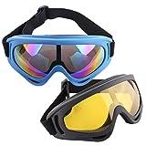 Lommer Gafas de seguridad para Nerf, 2pieza par de gafas protección para proteger los ojos Gafas de protección Goggles vasos Glasses para Nerf, CS, paintball Juegos, Gelb, Dunkelblau, 18.5 * 8 * 6cm