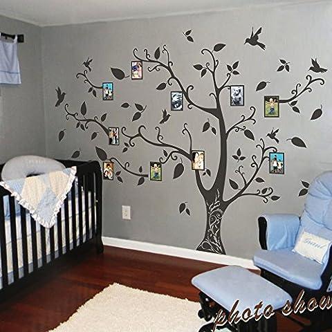 mairgwall Árbol de familia pared adhesivos vinilo de niños Guardería adhesivo decorativo para pared, diseño de árbol, sin marcos de fotos, vinilo, negro, 78