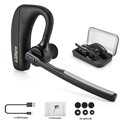 Bluetooth Headset Kopfhörer, V4.1 Drahtlos Kopfhörer Business Bluetooth Ohrhörer mit Mikrofon, Rauschunterdrückung Chat und Hände frei Funkkopfhörer für LKW-Fahrer, Wireless-headset für iPhone Android Handys Hörmuschel [Einschließen Tragbaren Aufbewahrungs box]