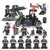 Minifiguren Set -6 Stück Armee Minifiguren, Armee Minifiguren Soldat mit militärischen Waffen Zubehör, WW2 SS Deutsche Armee Soldaten Waffen Waffen Military Building Block Kompatibel Lego Figuren Spielzeug für Kinder